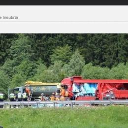 Gravissimo autista italiano  coinvolto nello scontro in Svizzera