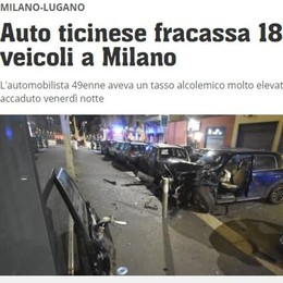 Comasco ubriaco su auto svizzera  distrugge 18 auto in sosta a Milano