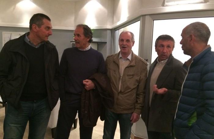 Da sinistra Simone Braglia, Silvano Fontolan, il dirigente accompagnatore Gualdi, Luca Fusi e Roberto Galia