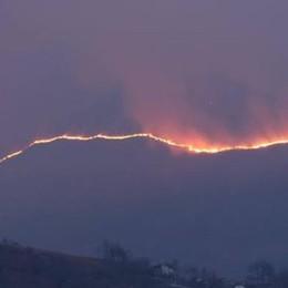 Vasto incendio  nei boschi di Montemezzo