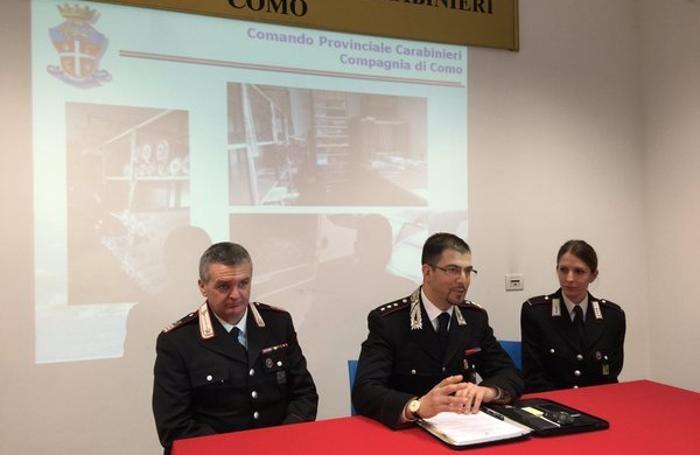 La conferenza stampa dei carabinieri della Compagnia di Como, stazione di Olgiate Comasco