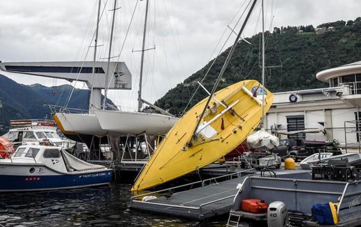 Como, vento a 120 km/h  Uomo travolto dalla barca: è grave