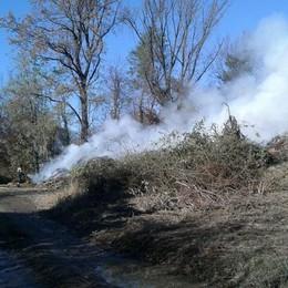 Mariano, bruciano le ramaglie  Grossa colonna di fumo
