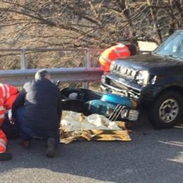 Incidente auto moto   Cinque feriti a Veleso