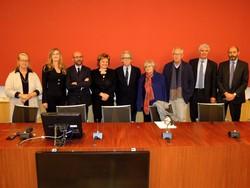 Sindaco e responsabili dell'ufficio tecnico insieme ai responsabili della commissione giudicatrice dei progetti