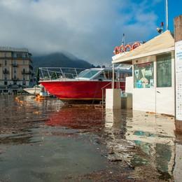 Como in canoa con il lago esondato, piazza Cavour