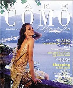 """1Geoffrey Barton Page con la compagna Leila2 La copertina del primo numero della rivista """"Lake Como lifestyle"""""""