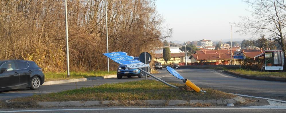 Olgiate, strage di cartelli   Incidente o vandalismo