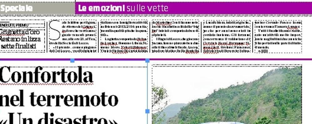 Lunedì con La Provincia  due pagine su la montagna