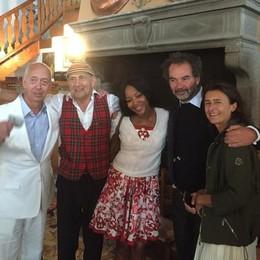 Naomi Campbell sull'Isola Comacina  Al pranzo dei vip, anche mr Moncler