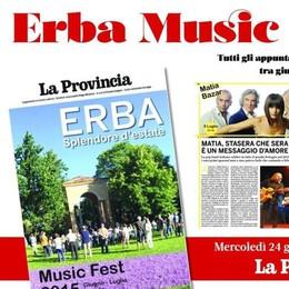 """Erba Music Fest oggi in omaggio  con """"La Provincia"""" di Como e Lecco"""