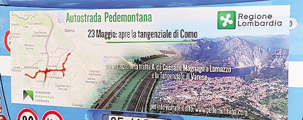 Gaffe di Pedemontana sulla pubblicità  Presa per Como una foto di Lecco
