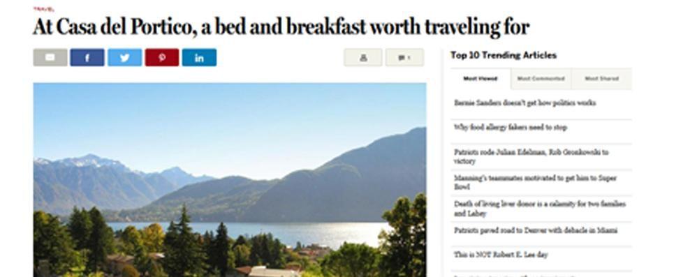 Il Boston Globe: «Che colazioni  alla Casa del Portico»
