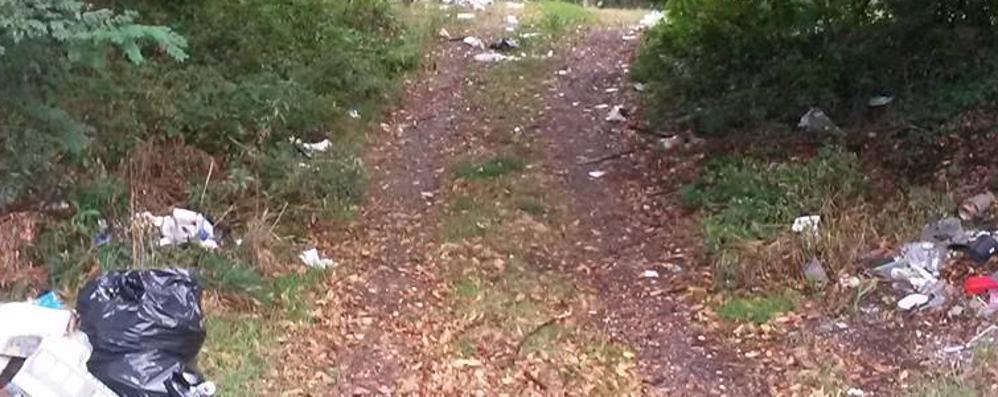Cantù, parchi e strade invasi dai rifiuti  «Basta, ci vogliono le telecamere»