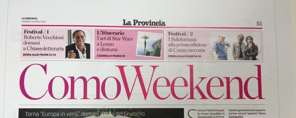 Venerdì con il giornale  l'inserto ComoWeekend