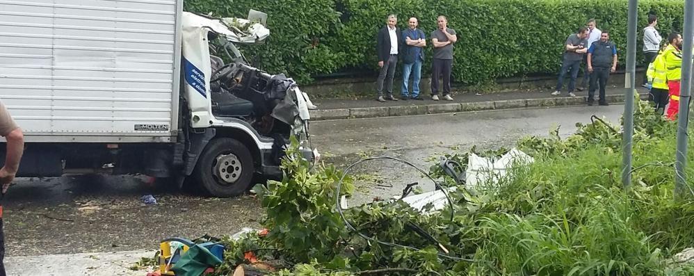 Albero cade su un furgone  Due feriti, uno è grave