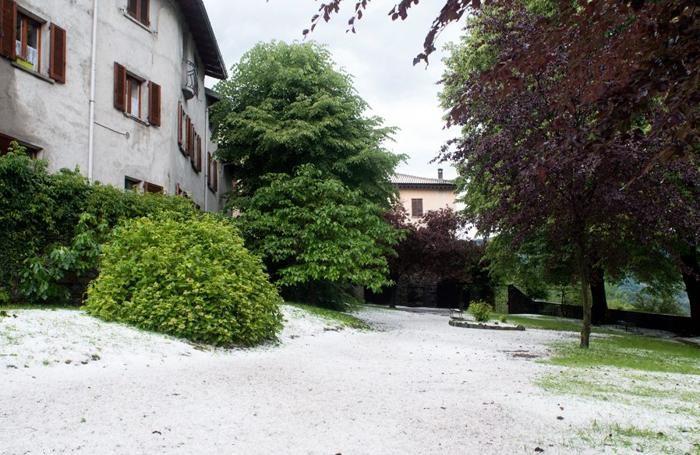 Grandine nel parco di Villa Corti