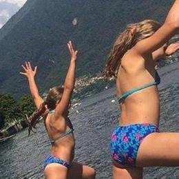 Edoardo, Martino e le  gemelle  Lago attraversato a nuoto