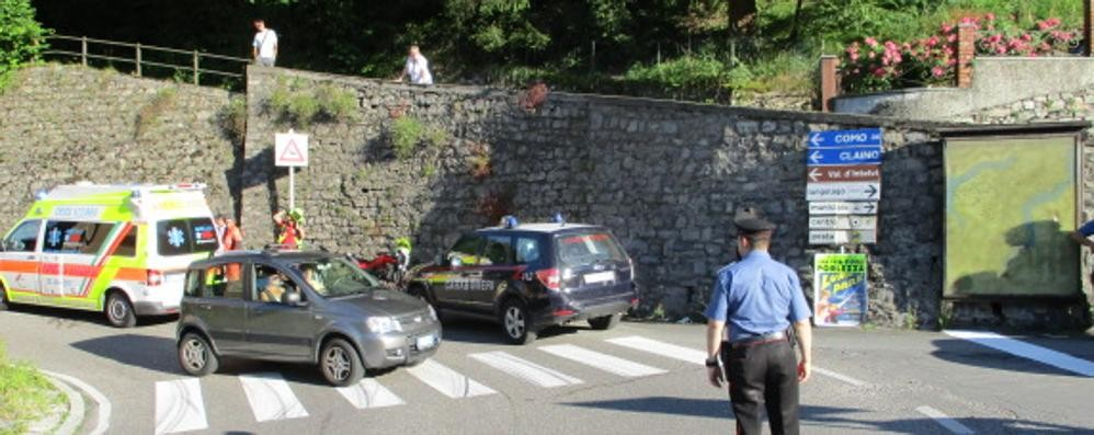 Claino, in moto contro un muro  Ferito alla testa un ragazzo