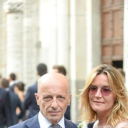 Como matrimonio di Massimiliano Sallusti e Cristina Frangi a Sant'Abbondio, Alessanadro Sallusti con la compagna Patrizia principessa Lorena d'Asburgo