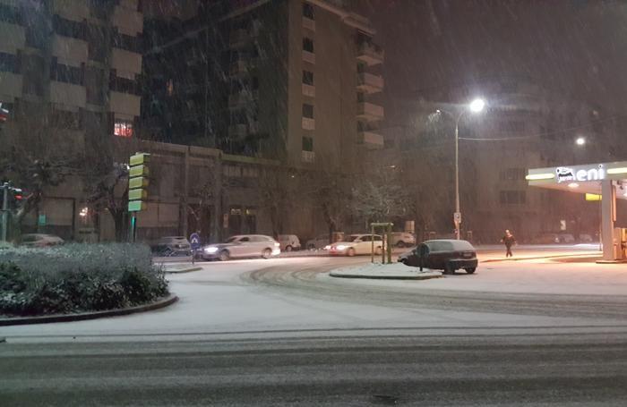 La nevicata in viale Rosselli