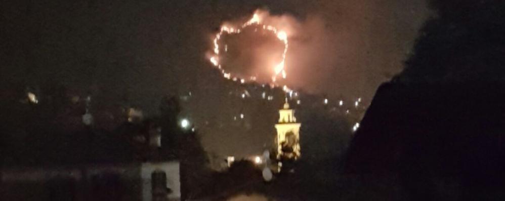 Incendio nei boschi di Tremezzina  Le fiamme sospinte dal vento forte