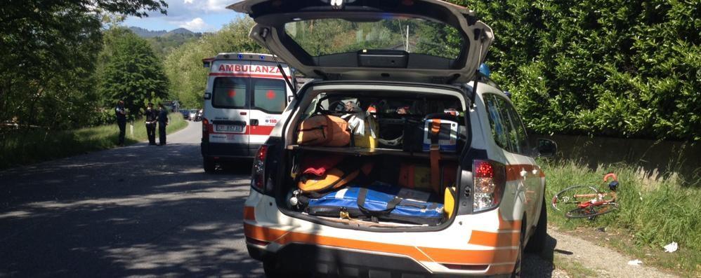 Incidente tra  bus e  ciclista  sulla Canturina a Olmeda