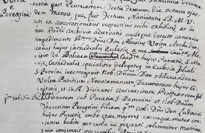 Il certificato di matrimonio tra Alessandro Volta e Teresa Peregrini