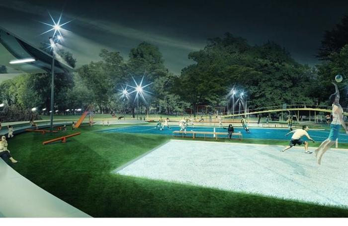 rendering progetto giardini a lago Como, l'area sportiva