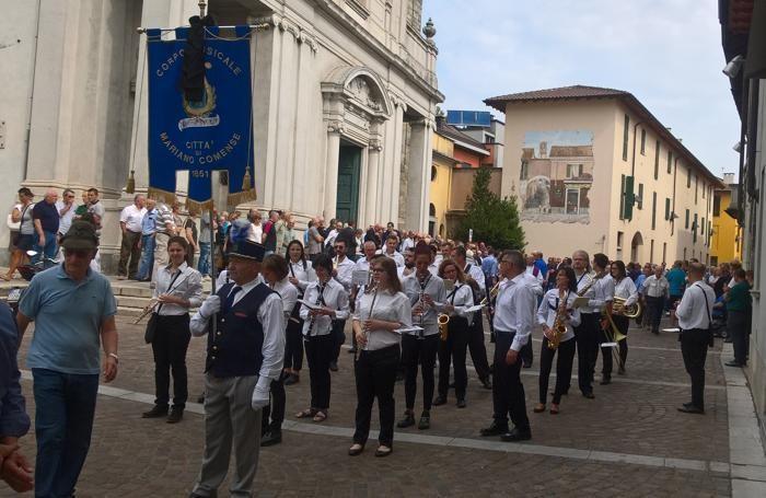 Il Corpo musicale Città di Mariano al corteo funebre