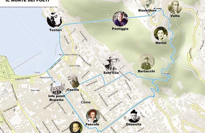 Mappa del parco letterario Monte dei Poeti tra Como e Brunate progettato dall'associazione Sentiero dei Sogni