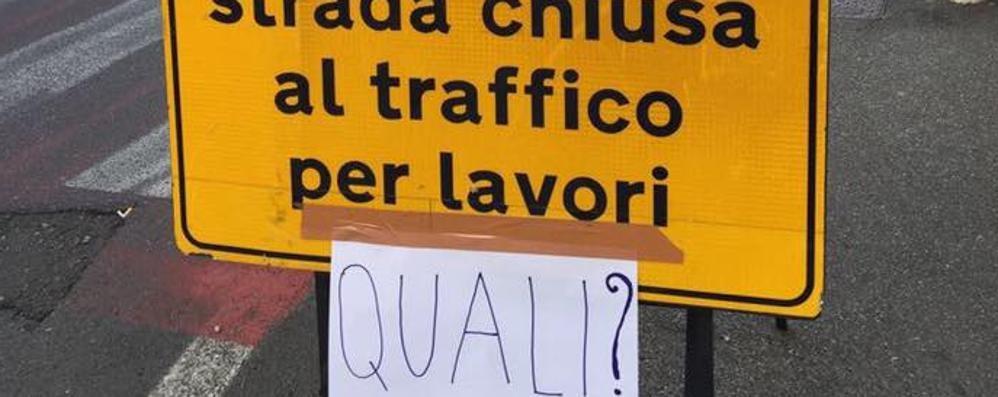 Cantiere infinito di Pedemontana  Un cartello beffa a Bregnano
