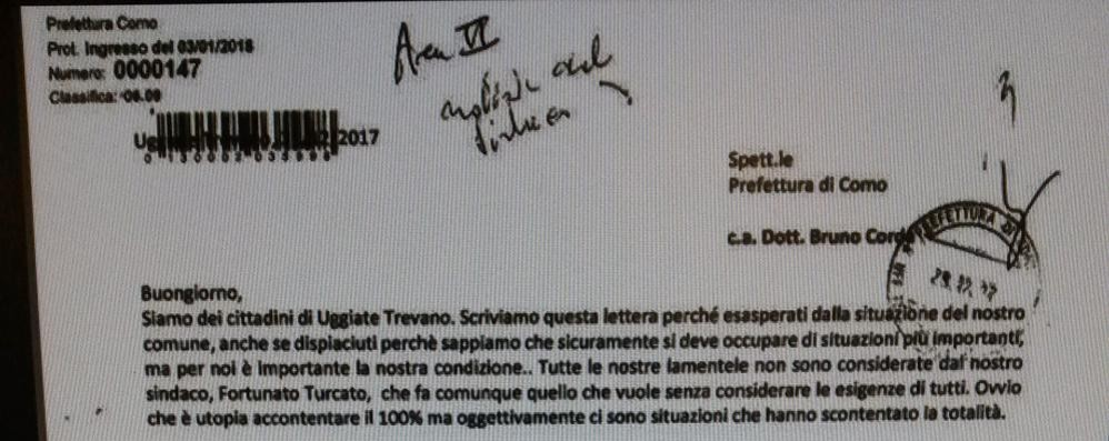 """Il corvo di Uggiate ha colpito ancora  Lettera al prefetto firmata """"i paesani"""""""