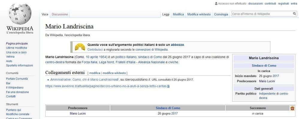 Attacco al sindaco su Wikipedia  Lui presenta denuncia in Procura