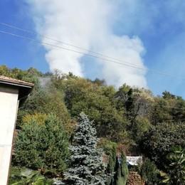 Incendio nei boschi  sopra a Cavallasca