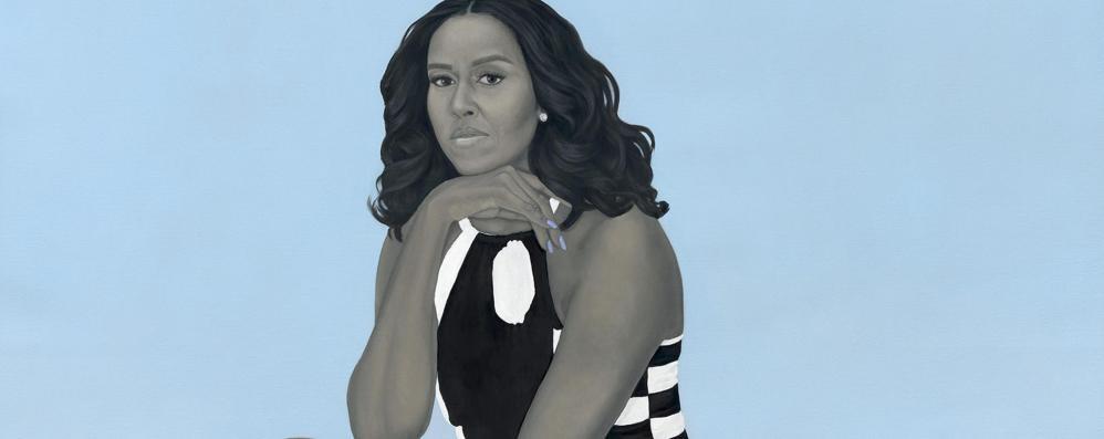Michelle svela il ritratto  Il vestito è Made in Como