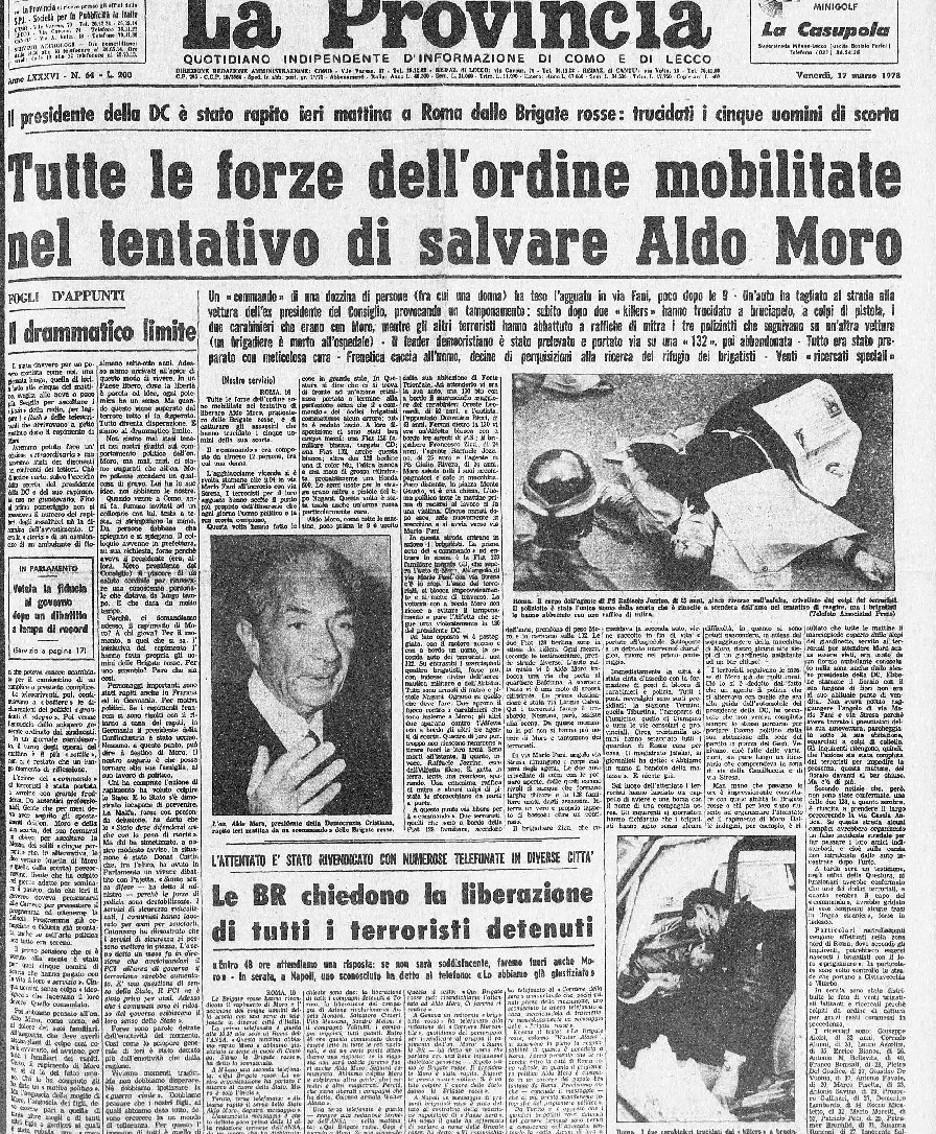 La prima pagina de La Provincia del 17 marzo 1978