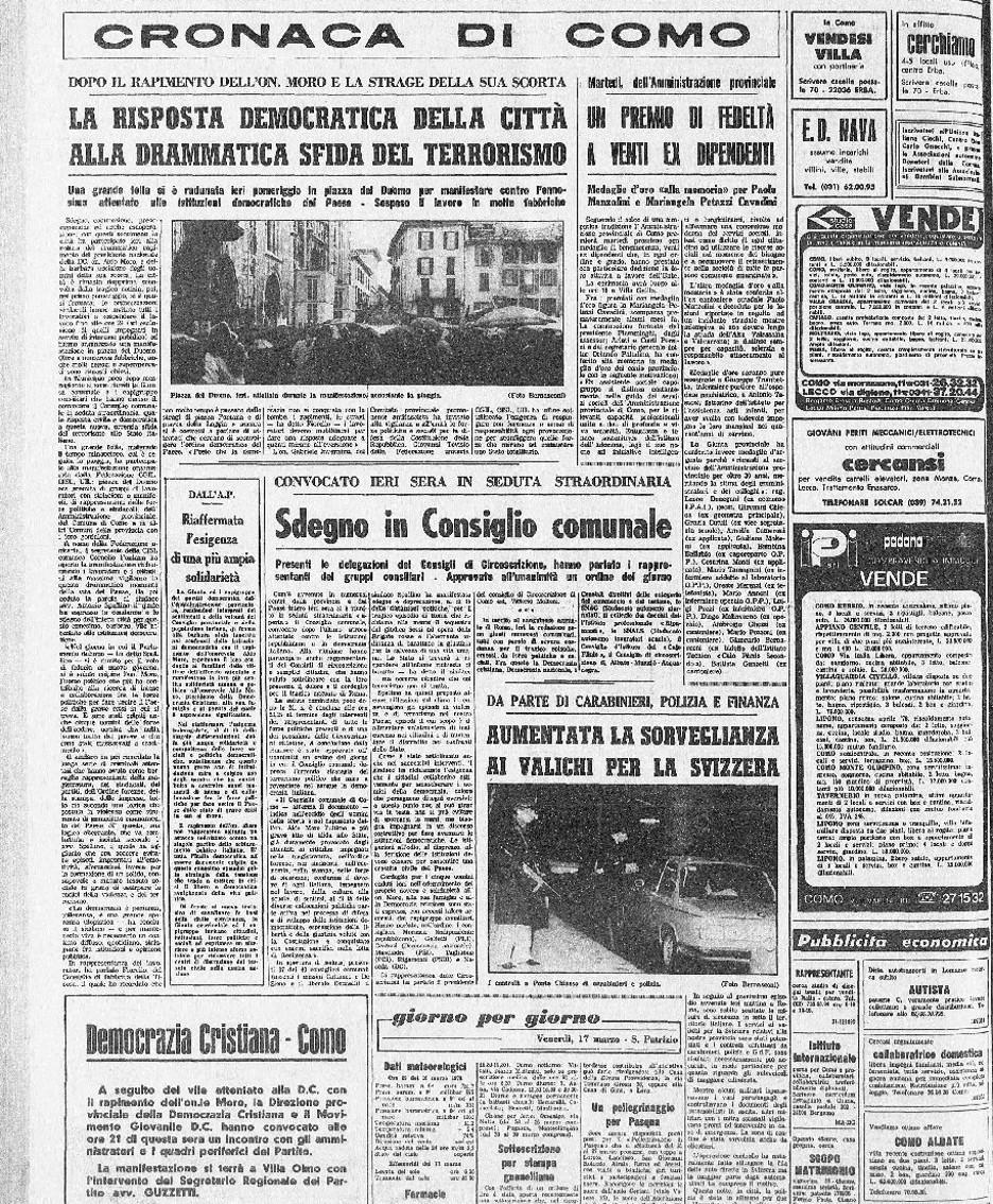 La prima pagina di cronaca de La Provincia del 17 marzo 1978