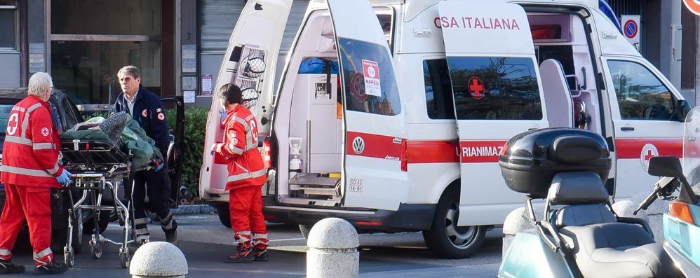 Lite dopo l'incidente Anziana in ospedale