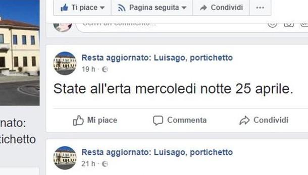 Luisago, pagina social sui furti  Il sindaco: «Si fa allarmismo»