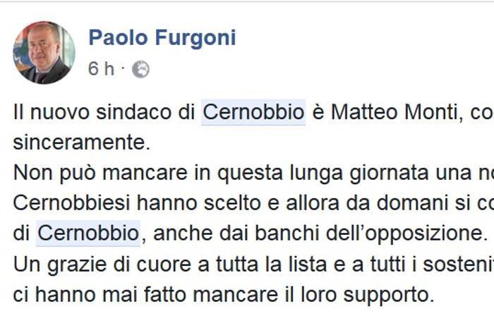 Il commento pubblicato su Facebook da Paolo Furgoni