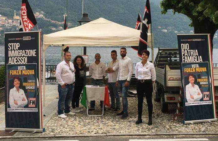 Francesca Frigerio, prima da destra, con alcuni esponenti di Forza Nuova a Laglio