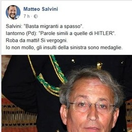 Iantorno a Salvini: «Parla come Hitler».    Su Facebook la risposta