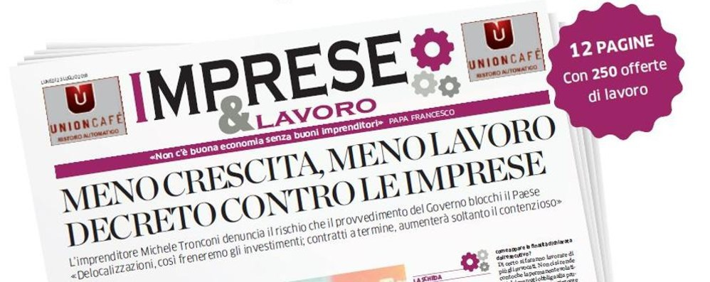 """Lunedì """"Imprese&Lavoro""""  In regalo 12 pagine con 250 offerte"""