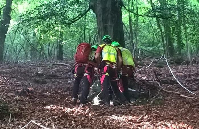 I soccorritori impegnati nel bosco
