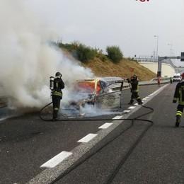 Pedemontana, auto in fiamme  Intervengono i pompieri