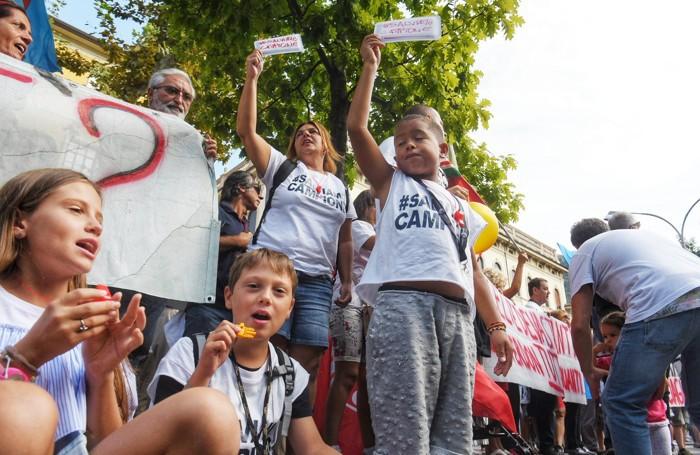 Como protesta manifestazione Campione d'Italia