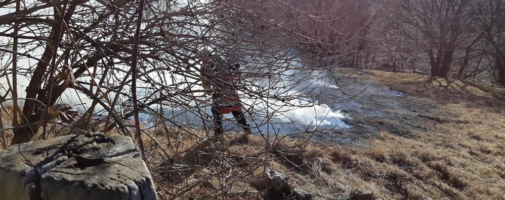 Tavernerio e Veleso, guardate   come danno fuoco ai boschi
