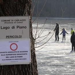 A Carlazzo si pattina sul lago  Nonostante il divieto