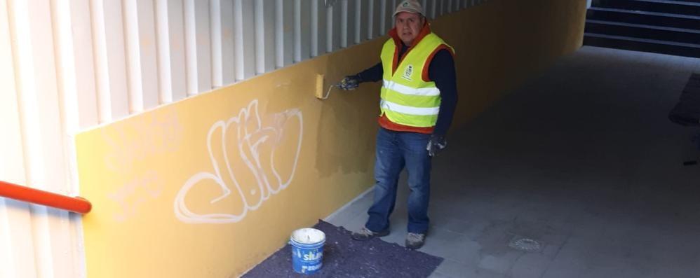 I volontari sconfiggono i writer  Già ripulito il sottopasso a Lomazzo